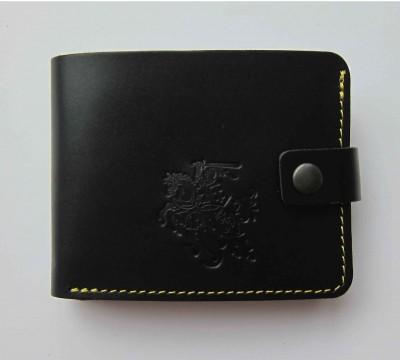 """Lietuviška odinė piniginė su geltonu siūlu """"Rapolas"""""""