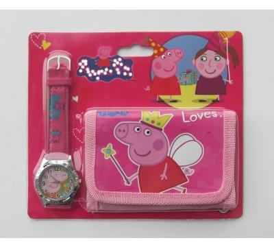 """Vaikiškas Dovanų rinkinys: piniginė ir laikrodis """"Pepe"""""""