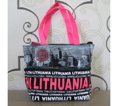 """Medvilninė rankinė """"Lithuania City Face Pink"""""""