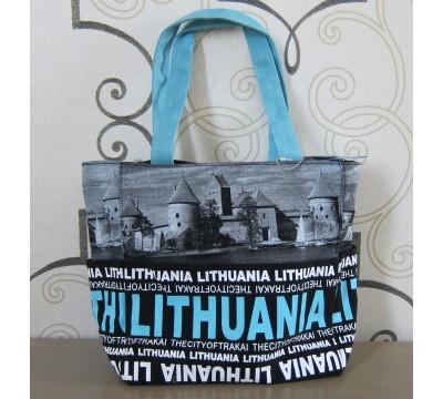"""Medvilninė rankinė """"Lithuania City Face Blue"""""""