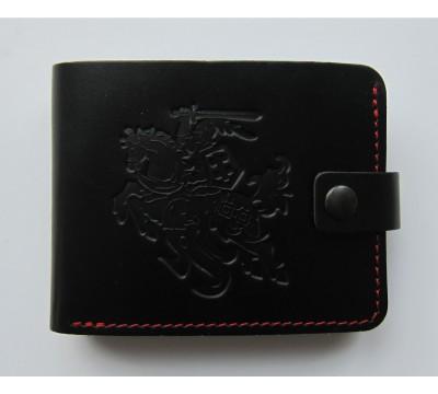 """Lietuviška odinė piniginė su raudonu siūlu """"Skaidrius"""""""