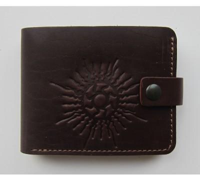"""Lietuviška odinė piniginė su stilizuota saule """"Povilas"""""""
