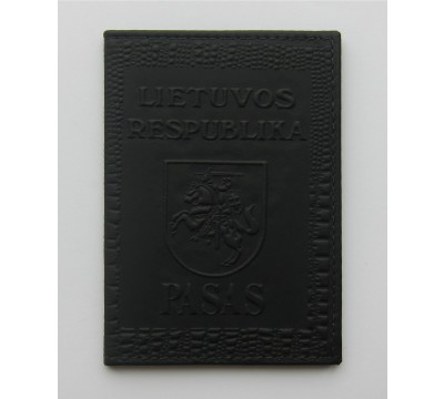 """Rankų darbo lietuviškas paso dėklas """"LT-black"""""""